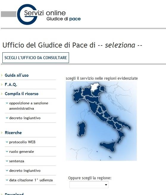ministero della giustizia servizi online giudice di pace